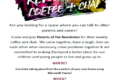 Make friends and mix with other people: Join Parents of the Revolution coffee and chat